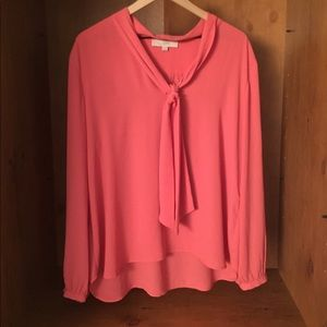 Ann Taylor Loft Pink Tie Blouse (XL), gently used